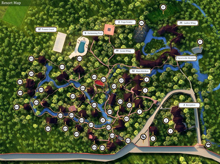 Kairali - The Ayurvedic Healing Village, Resort Map